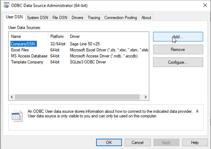 Add new DSN using the ODBC Administrator