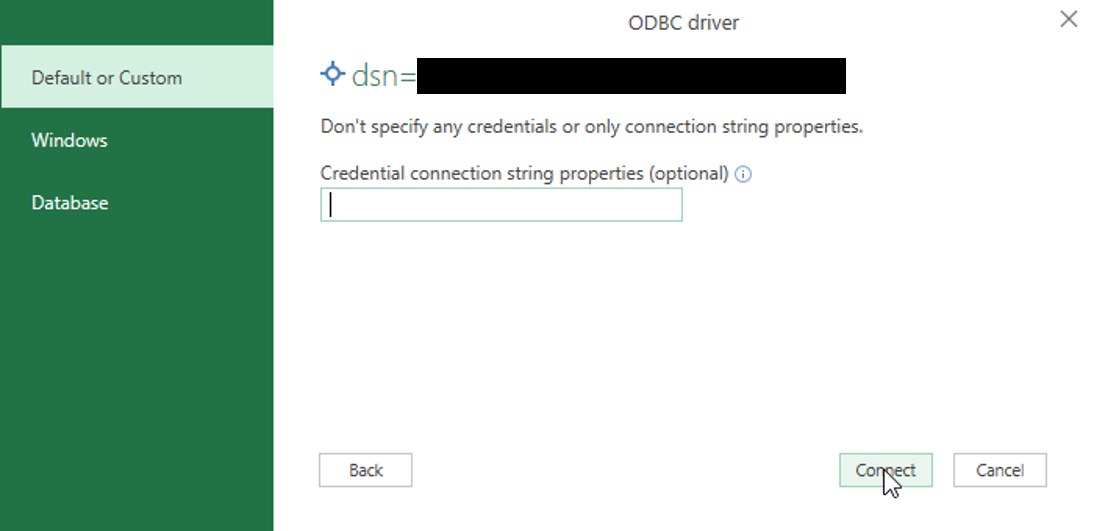ODBC connection string