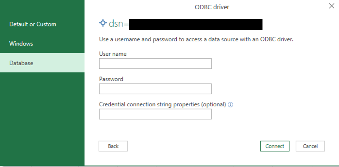 Enter the username and password for your ODBC connection